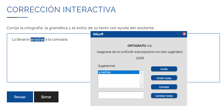 Corrector interactivo online