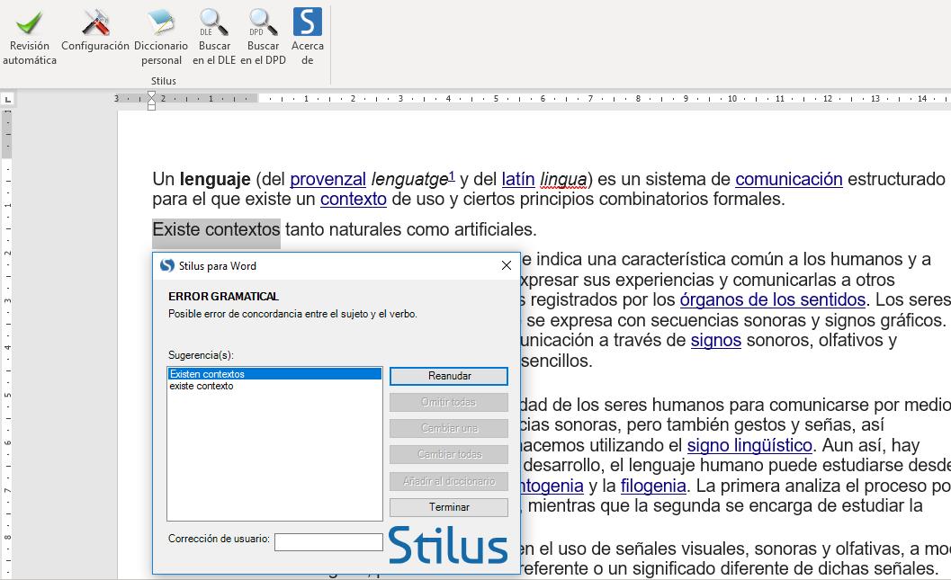 Corrector integrado con Word