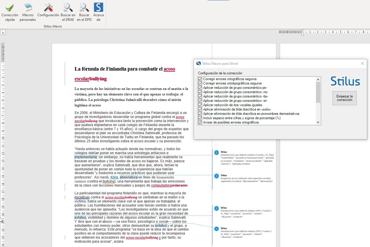 Stilus Macro integrado con Word