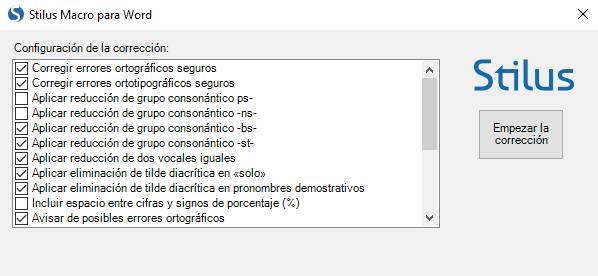 Configuracion de la corrección